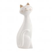 Escultura Decorativa Gato Cerâmica Branco 20,5cm 11298 Mart