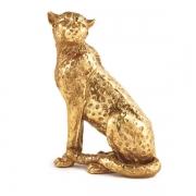 Escultura Decorativa Leopardo Dourado em Poliresina 19cm 12441 Mart