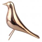Escultura Decorativa Pássaro de Cerâmica Rose Gold 19cm DN0054 BTC