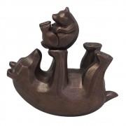 Escultura Urso e Filhote Decorativo de Resina 16cm BTC