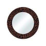 Espelho Redondo Aço Decorativo Modelo Onça 40CM