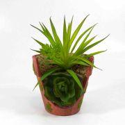 Flor Suculenta C/ Vaso Cor Verde Artificial Permanente 13CM 32782-001