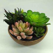 Flor Suculenta Sortida c/ Vaso 18cm Artifical Permanente