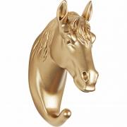 Gancho de Parede Cavalo em Resina Dourado 13744 Mart