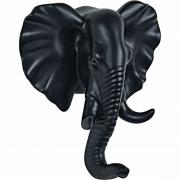 Gancho de Parede Elefante em Resina Preto 13741 Mart