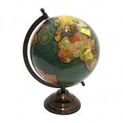 Globo Terrestre Decorativo Verde em Metal Bronze 30cm MEI0077 BTC