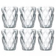 Jogo de Copos em Vidro Água 350ml Diamante 6 Peças Class Home 878