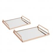 Kit 02 Bandejas Decorativa Retangular Rose Gold com Espelho 11172 Mart