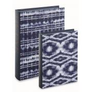Kit 02 Caixas Livro Decorativa Tie Dye Azul 11791 Mart