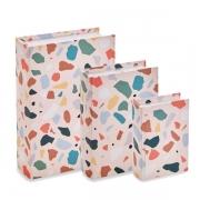 Kit 03 Caixas Livro Decorativa Rosa Colors 11065 Mart