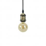 Kit 03 Pendentes Soquete Bronze 1E27 Vintage Cordão + 03 Lâmpadas Filamento LED 4W 2700K G95 Bivolt