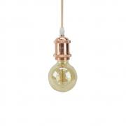 Kit 03 Pendentes Soquete Cobre Rose 1E27 Vintage Cordão + 03 Lâmpadas Filamento LED 4W G95 Bivolt