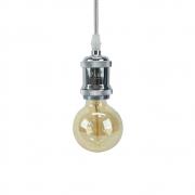 Kit 03 Pendentes Soquete Cromado 1E27 Vintage Cordão + 03 Lâmpada Filamento LED 4W 2700K G95 Bivolt