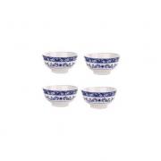 Kit 04 Bowls de Porcelana Blue Garden 13x7cm 8483 Lyor