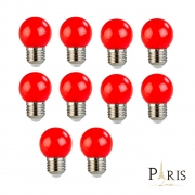 Kit 10 Lâmpadas Bolinha Decorativa Vermelho G45 E27 LED 3W 127V