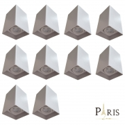 Kit 10 Plafons Spot Sobrepor PAR20 Quadrado Branco + 10 Lâmpadas Par20 E27 Led 7W 2700K Bivolt