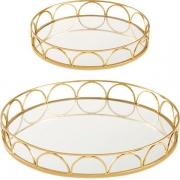 Kit 2 Bandejas Decorativa Redonda Dourada com Espelho 13632 Mart