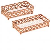 Kit 2 Bandejas Decorativa Retangular Metal Cobre com Espelho 12027 Mart