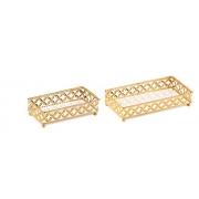 Kit 2 Bandejas Decorativa Retangular Metal Dourada com Espelho 12021 Mart