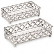 Kit 2 Bandejas Decorativa Retangular Metal Prata com Espelho 12024 Mart