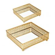 Kit 2 Bandejas Quadrada Decorativa Espelhada Dourado 15,5CM E 12,5CM 09619 Mart Collection