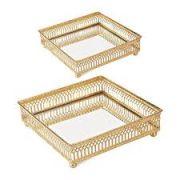 Kit 2 Bandejas Quadrada Decorativa Espelhada Dourado 16CM E 13CM 09620 Mart Collection