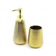 Kit 2 Peças Para Banheiro Dourado Em Cerâmica 10544 Mart Collection
