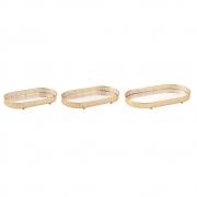 Kit 3 Bandejas Decorativas Oval Metal Dourado com Espelho 12245 Mart