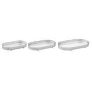Kit 3 Bandejas Decorativas Oval Metal Prata com Espelho 12249 Mart