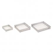 Kit 3 Bandejas Decorativas Quadrada Metal Prata com Espelho 12013 Mart