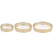 Kit 3 Bandejas Decorativas Redonda Metal Dourado com Espelho 11997 Mart