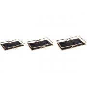 Kit 3 Bandejas Decorativas Retangular Metal Dourado com Espelho Preto 10165 Mart