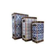 Kit 3 Caixas Decorativa Estampada Em MDF 7828