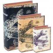 Kit 3 Caixas Livro Decorativa Estampado 7821 Mart