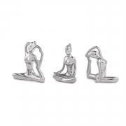 Kit 3 Peças Escultura Yoga Prata em Cerâmica 11265 Mart
