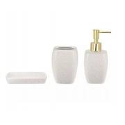 Kit 3 Peças Para Banheiro Branco Areia em Cerâmica 09066 Mart