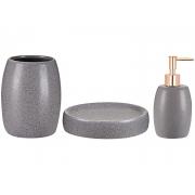 Kit 3 Peças Para Banheiro Cinza Areia em Cerâmica 09065 Mart
