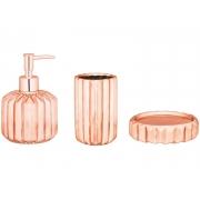 Kit 3 Peças Para Banheiro Rose Gold em Cerâmica 7786 Mart