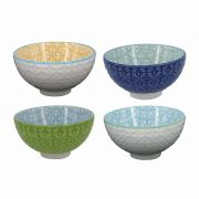 Kit 4 Bowls/Cumbuca De Porcelana Decorativo 12cm HP0011 Colorido