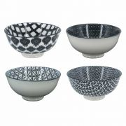 Kit 4 Bowls/Cumbuca De Porcelana Decorativo 12cm HP0014 Preto e Branco