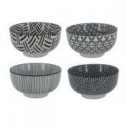 Kit 4 Bowls/Cumbuca De Porcelana Preto/Branco Decorativo 13cm Hp0015