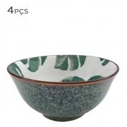 Kit 4 Bowls Vaso Decorativo de Cerâmica Floral 15,5cm HP0027 BTC