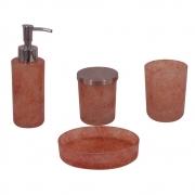 Kit 4 Peças Para Banheiro de Vidro Salmão HJ0003 BTC