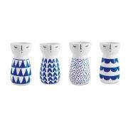 Kit 4 Peças Vaso Decorativo Cerâmica Rosto Azul 11277 Mart