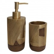 Kit Banheiro de Resina Dourado e Marrom  PO0119