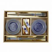 kit Comida Japonesa 6 Peças p/ 2 Pessoas Azul - MM3010