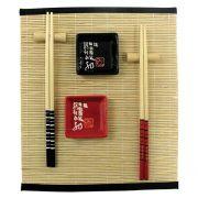 kit Comida Japonesa  8 Peças p/ 2 Pessoas Preto e Vermelho - MM2001