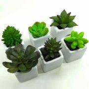 Kit Flor Suculenta Verde Sortida C/ Vaso Cerâmica Artificial Permanente 6 Unidades 8CM 29165-001