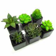 Kit Flor Suculenta Verde Sortida C/ Vaso Cerâmica Preto Artificial Permanente 6 Unidades 8CM 29165-002