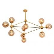 Kit Lustre Pendente Moderno Orbe Dourado + 10 Lâmpadas Filamento E27